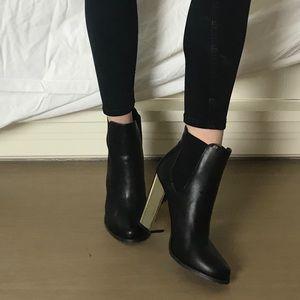 Black Forever 21 Gold Heel Booties